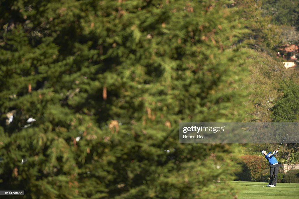 Overall view of James Hahn in action during Sunday play at Pebble Beach Golf Links. Robert Beck F65 )