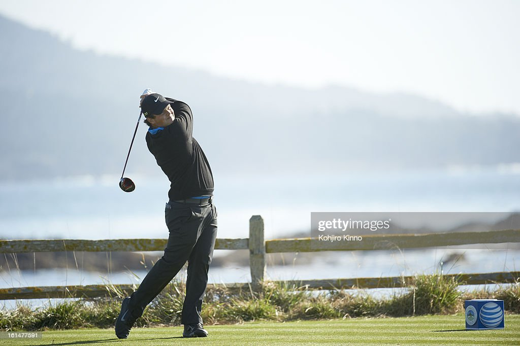 Patrick Reed in action, drive during Sunday play at Pebble Beach Golf Links. Kohjiro Kinno F289 )