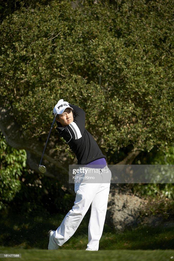 Richard Lee in action, drive during Sunday play at Pebble Beach Golf Links. Kohjiro Kinno F245 )