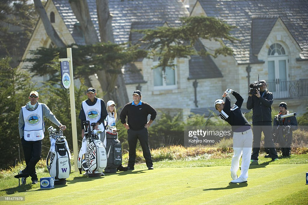 Richard Lee in action, drive from No 11 tee during Sunday play at Pebble Beach Golf Links. Kohjiro Kinno F191 )