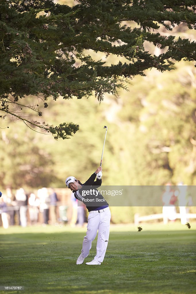 Richard Lee in action during Sunday play at Pebble Beach Golf Links. Robert Beck F23 )