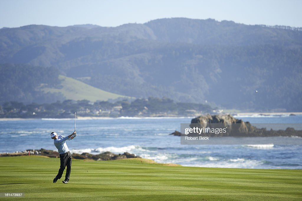 Scenic view of Brandt Snedeker in action during Sunday play at Pebble Beach Golf Links. Robert Beck F11 )