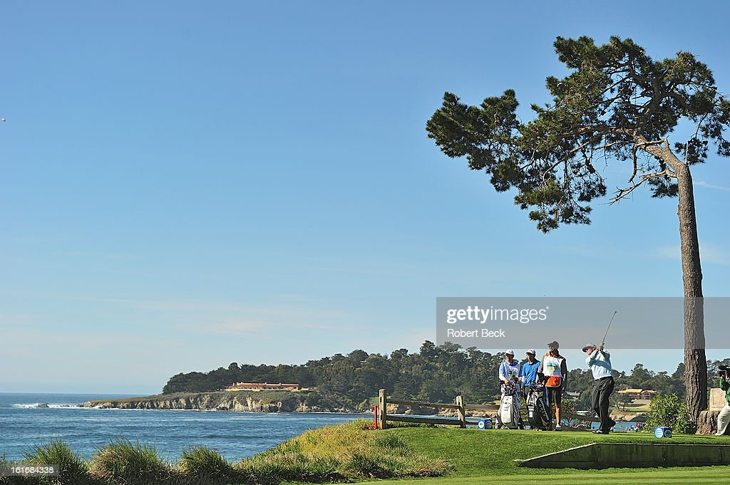 Scenic view of Brandt Snedeker in action, drive from tee during Sunday play at Pebble Beach Golf Links. Robert Beck F80 )