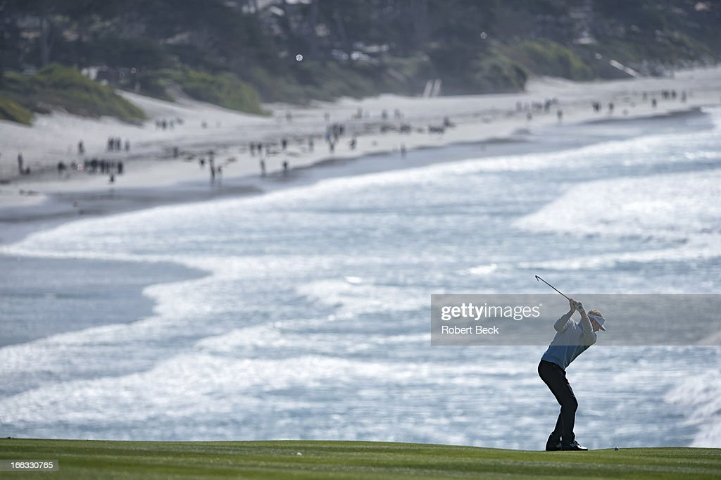 Scenic view of Brandt Snedeker in action on Sunday at Pebble Beach Golf Links. Robert Beck F107 )