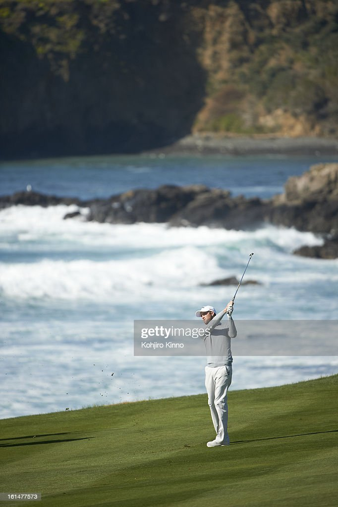 Scenic view of Chris Kirk in action during Sunday play at Pebble Beach Golf Links. Kohjiro Kinno F150 )