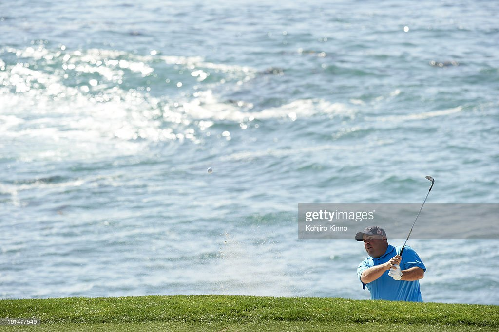 Scenic view of Kevin Stadler in action during Sunday play at Pebble Beach Golf Links. Kohjiro Kinno F52 )