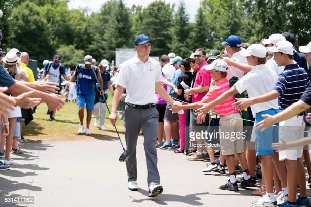 PGA Championship Jordan Spieth greeting fans during Saturday play at Quail Hollow Club Charlotte NC CREDIT Robert Beck