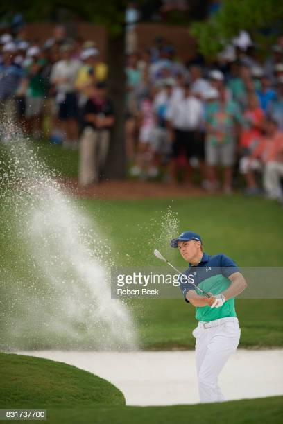 PGA Championship Jordan Spieth in action chipping from sand trap during Friday play at Quail Hollow Club Charlotte NC CREDIT Robert Beck
