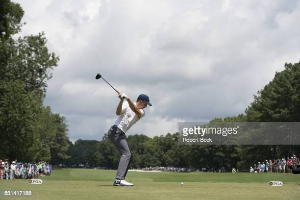 PGA Championship Jordan Spieth in action drive during Saturday play at Quail Hollow Club Charlotte NC CREDIT Robert Beck