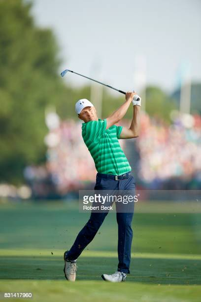 PGA Championship Jordan Spieth in action drive during Thursday play at Quail Hollow Club Charlotte NC CREDIT Robert Beck