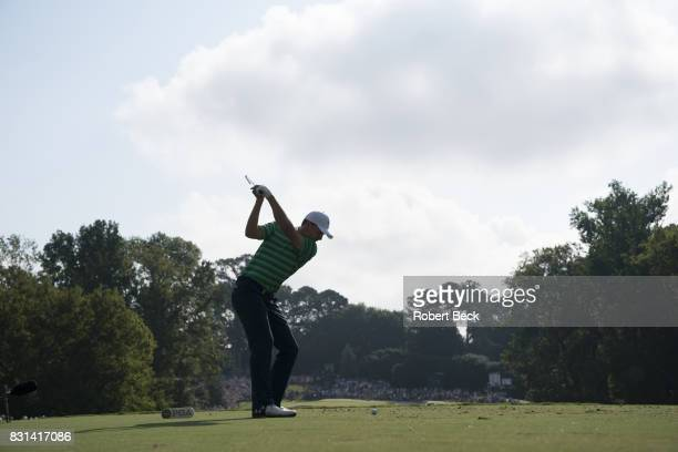 PGA Championship Jordan Spieth in action drive from tee during Thursday play at Quail Hollow Club Charlotte NC CREDIT Robert Beck