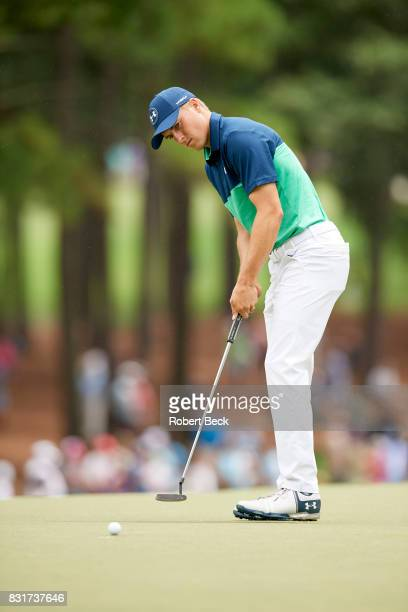 PGA Championship Jordan Spieth in action putting during Friday play at Quail Hollow Club Charlotte NC CREDIT Robert Beck