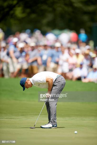 PGA Championship Jordan Spieth in action putting during Saturday play at Quail Hollow Club Charlotte NC CREDIT Robert Beck