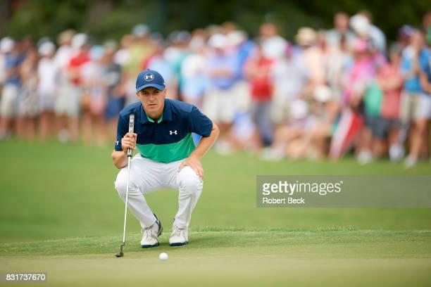 PGA Championship Jordan Spieth lining up putt during Friday play at Quail Hollow Club Charlotte NC CREDIT Robert Beck