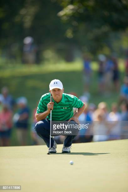 PGA Championship Jordan Spieth lining up putt during Thursday play at Quail Hollow Club Charlotte NC CREDIT Robert Beck