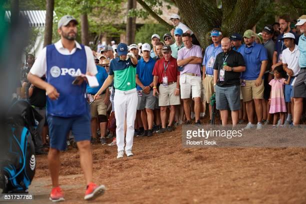 PGA Championship Jordan Spieth making ball drop during Friday play at Quail Hollow Club Charlotte NC CREDIT Robert Beck