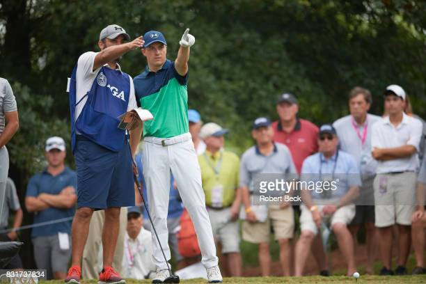 PGA Championship Jordan Spieth pointing with caddie during Friday play at Quail Hollow Club Charlotte NC CREDIT Robert Beck