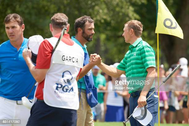 PGA Championship Jordan Spieth shaking hands with caddie Michael Greller during Thursday play at Quail Hollow Club Charlotte NC CREDIT Robert Beck