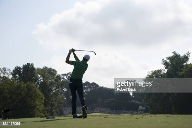 PGA Championship Rear view of Jordan Spieth in action drive from tee during Thursday play at Quail Hollow Club Charlotte NC CREDIT Robert Beck