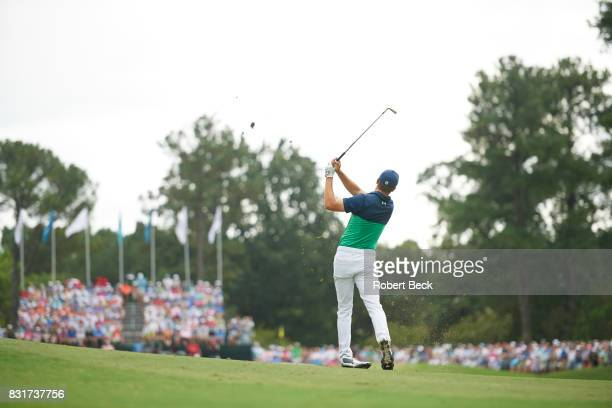 PGA Championship Rear view of Jordan Spieth in action during Friday play at Quail Hollow Club Charlotte NC CREDIT Robert Beck