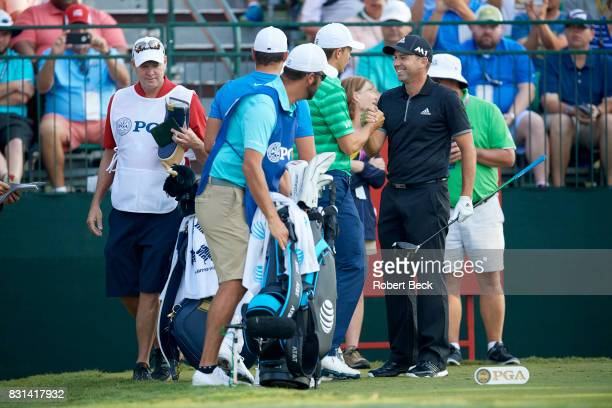 PGA Championship Sergio Garcia shaking hands with Jordan Spieth during Thursday play at Quail Hollow Club Charlotte NC CREDIT Robert Beck