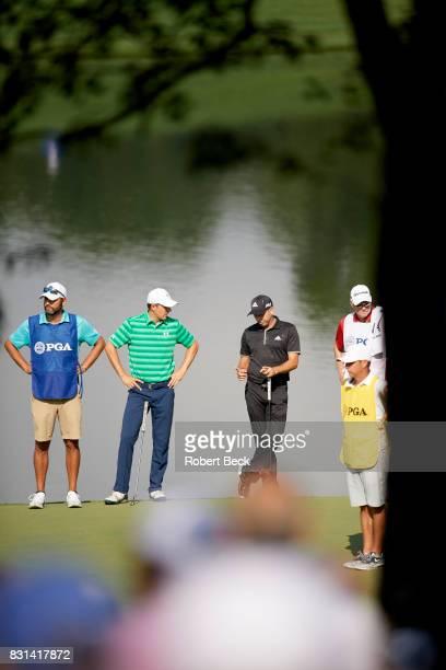 PGA Championship Sergio Garcia with Jordan Spieth during Thursday play at Quail Hollow Club Charlotte NC CREDIT Robert Beck