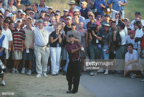 PGA Championship Tiger Woods in action from hardpan taking second shot on No 18 during third playoff hole of Sunday play at Valhalla CC Louisville KY...