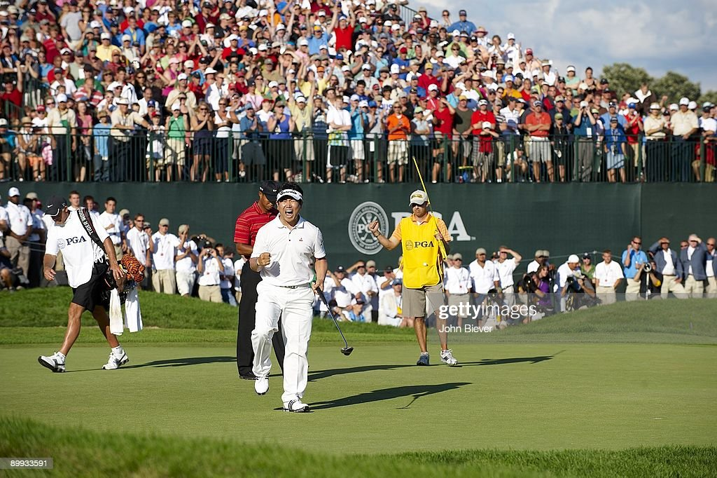 PGA Championship YE Yang victorious after making final putt on No 18 to win tournament during Sunday play at Hazeltine National GC Chaska MN...