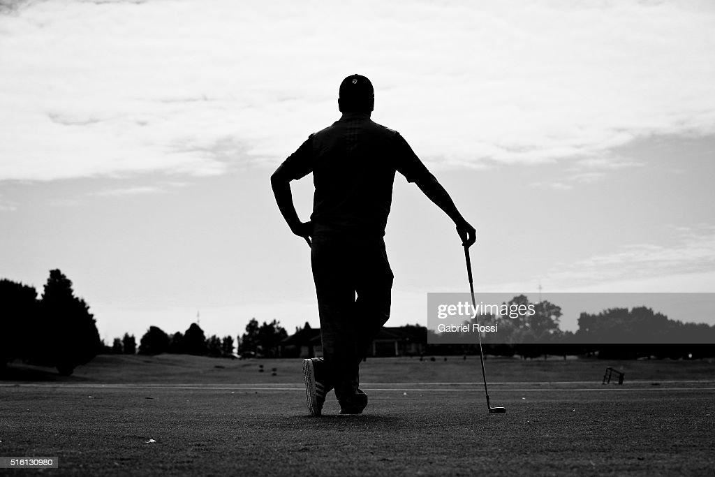 Golf player Fabian Gomez of Argentina looks on during a photo session at Pilar Golf Club on March 11 2016 in Pilar Buenos Aires Argentina