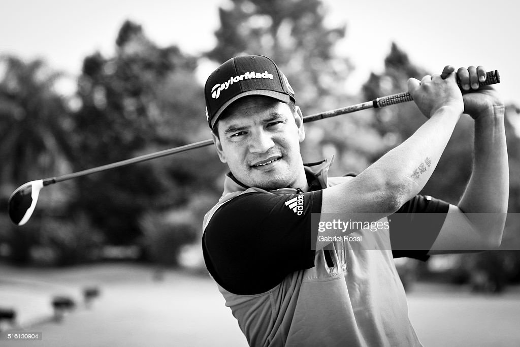 Golf player Fabian Gomez of Argentina poses during a photo session at Pilar Golf Club on March 11 2016 in Pilar Buenos Aires Argentina