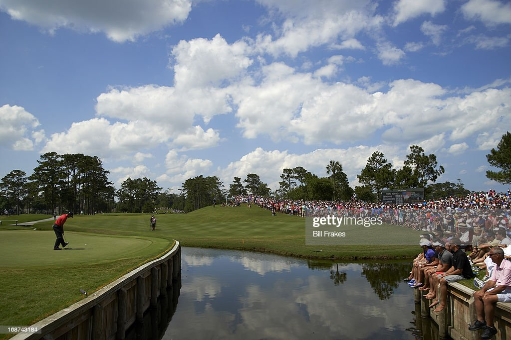 Aerial view of Tiger Woods in action, lining up putt during Sunday play at TPC Sawgrass. Scenic. Bill Frakes F64 )