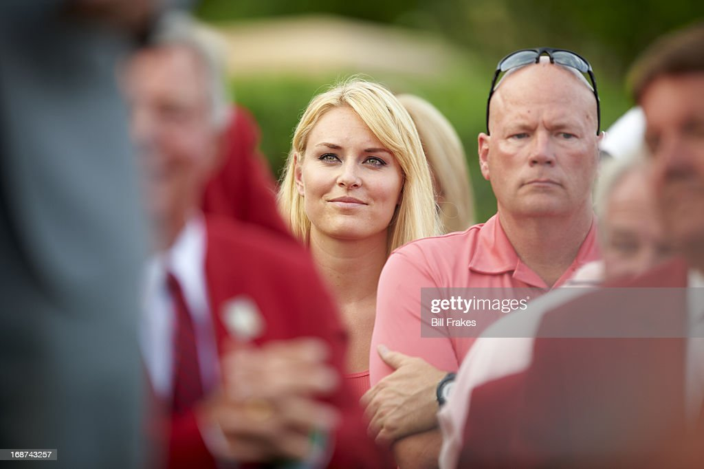 View of Olympic skiier Lindsey Vonn watching her boyfriend Tiger Woods during Sunday play at TPC Sawgrass. Bill Frakes F904 )