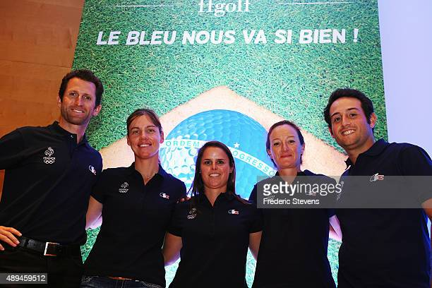 Golf players Gregory Bourdy Karine Icher Valentine Derrey Gwladys Nocera and Alexander Levy attend a French Golf Federation press conference for the...