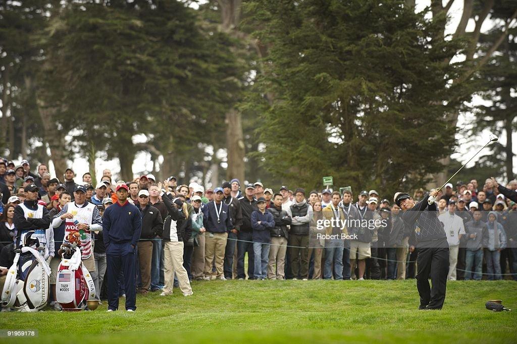 Presidents Cup International Team YE Yang in action during Sunday Singles Matches at Harding Park GC San Francisco CA CREDIT Robert Beck