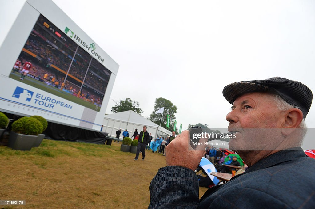 Golf & Rugby fans watching the Lions - Australia match on screens dotted around the tented village during the Third Round of the Irish Open at Carton House Golf Club on June 29, 2013 in Maynooth, Ireland.