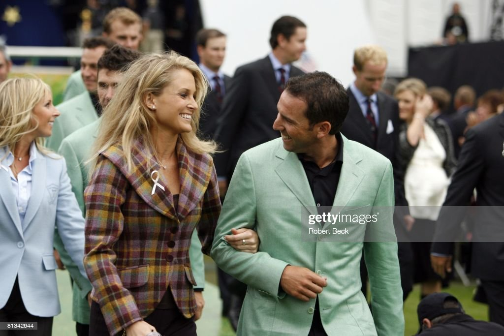 Golf Ryder Cup Europe Sergio Garcia and girlfriend Morgan Norman daughter of former golfer Greg Norman during opening ceremony on Thursday at The K...