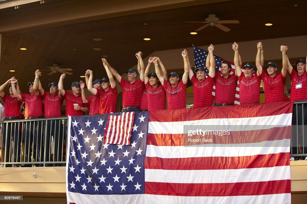Ryder Cup Team USA captain Paul Azinger victorious with team members during celebration after winning on Sunday at Valhalla GC Louisville KY...