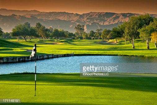 Golf Scenic at Dawn with Dramatic Sky