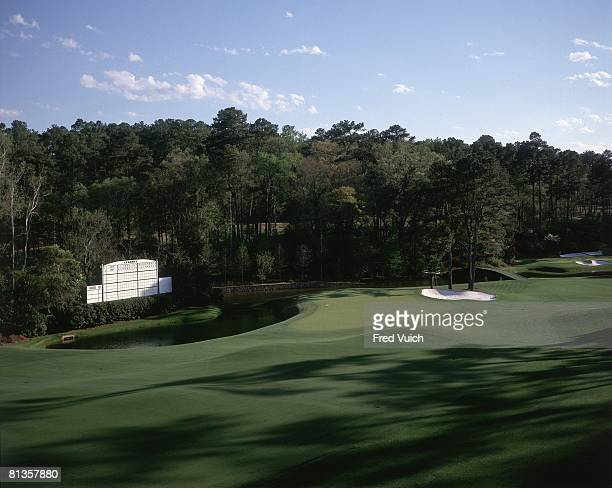 Golf Scenic view of No 11 at Augusta National View of leader board Augusta GA 1/1/1995