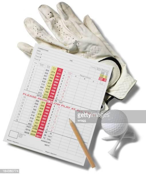 Carte de Score au Golf, gant et de