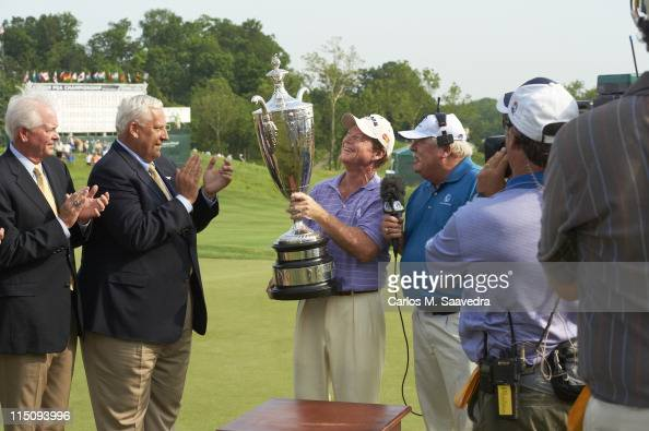 Senior PGA Championship Tom Watson victorious with trophy after winning tournament on Sunday at Valhalla GC Champions Tour Louisville KY CREDIT...