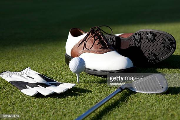 Golf Shoes, Gloves,Ball,Club On Green Grass
