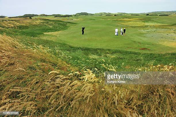 Sports Illustrated senior writer Alan Shipnuck in action from tee on Old Macdonald Course while playing 72 holes of golf at Bandon Dunes Golf Resort...