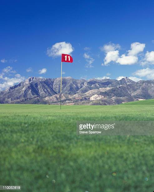 Golf Tee, Spain with mountain background