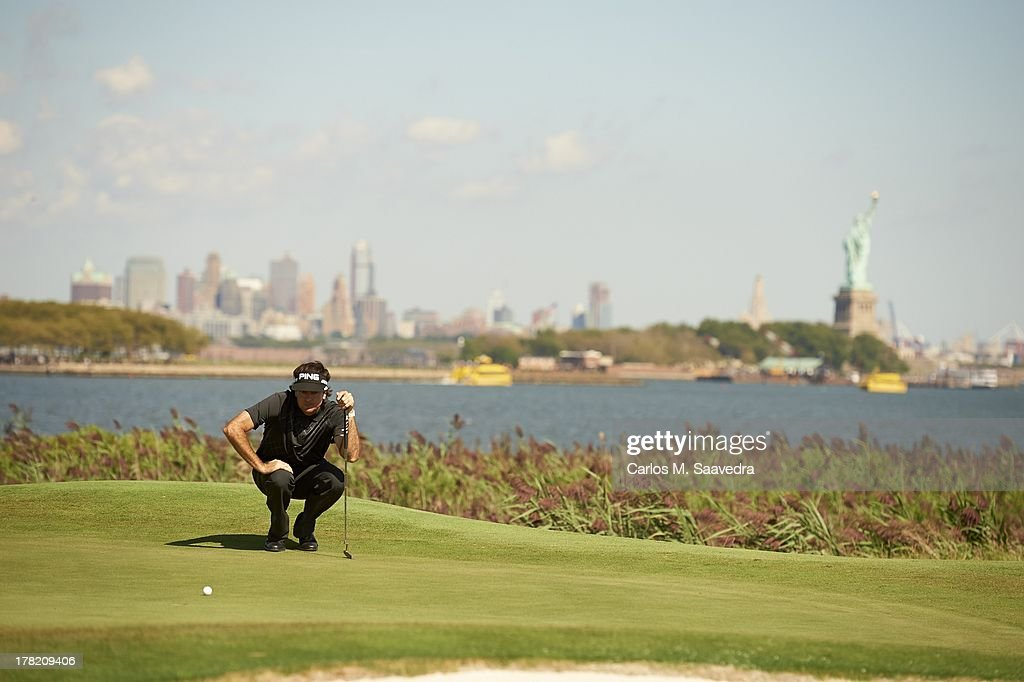 The Barclays Scenic view of Bubba Watson reading the green during Saturday play at Liberty National GC FedEx Cup Jersey City NJ CREDIT Carlos M...