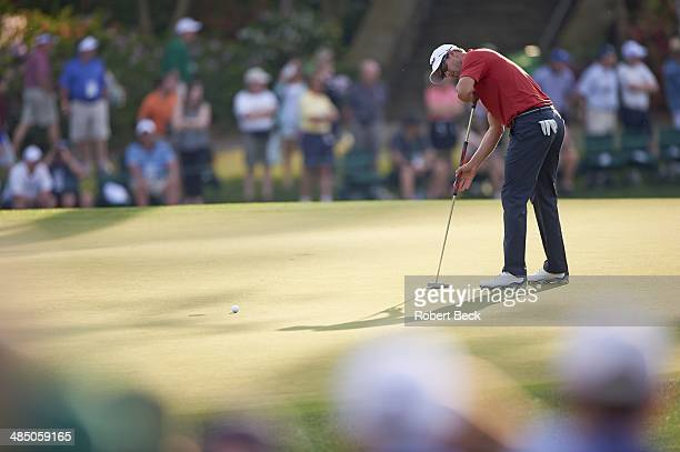 The Masters Adam Scott in action putt with anchored putter on green during Friday play at Augusta National Augusta GA CREDIT Robert Beck