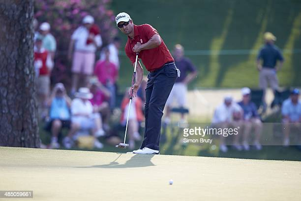 The Masters Adam Scott in action putt with anchored putter on green during Friday play at Augusta National Augusta GA CREDIT Simon Bruty