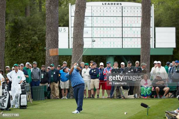 The Masters Angel Cabrera in action driving during Thursday play at Augusta National Augusta GA CREDIT Al Tielemans
