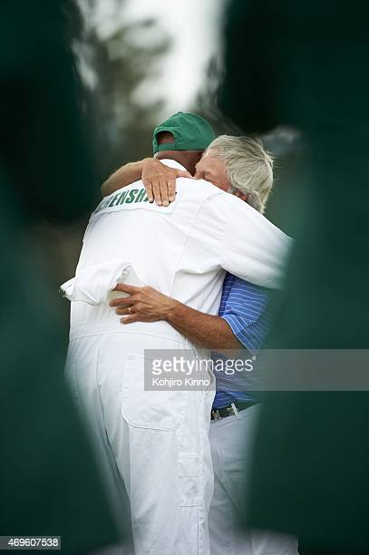 The Masters Ben Crenshaw hugs caddie Carl Jackson after conclusion of Friday play at Augusta National Crenshaw played in his final Masters after 41...