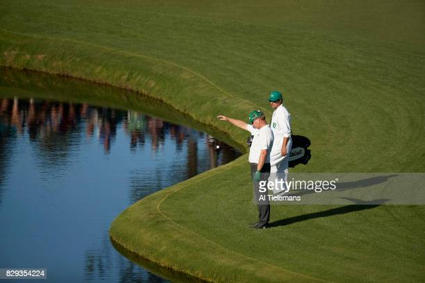 The Masters Charley Hoffman dropping ball during Sunday play at Augusta National Augusta GA CREDIT Al Tielemans